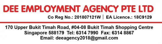 Maid agency: DEE EMPLOYMENT AGENCY PTE. LTD.