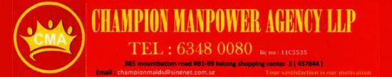 Maid agency: Champion Manpower Agency Llp